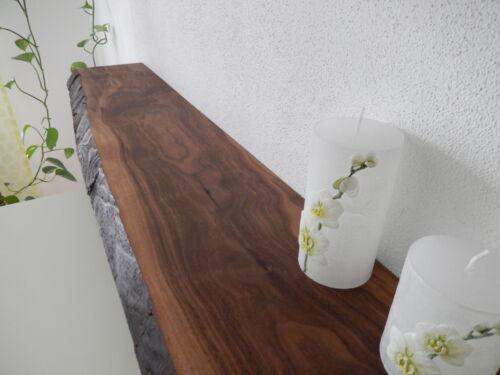 Wandboard Nussbaum Massiv Holz Board Regal Steckboard Regalbrett Baumkante NEU