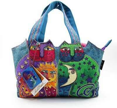 LAUREL BURCH CELESTIAL FELINES MEDIUM TOTE SHOULDER HANDBAG ~ NEW