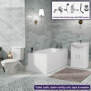 1700 Bath Vanity Unit And Close Coupled Toilet With Taps Bathroom Suite Carder Ebay