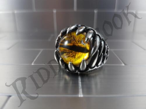 Evil Yellow eye Stainless steel biker ring Harley Davidson Triumph dragon GOT