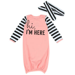 990d86317 Baby Girl Boy Cotton Gown Outfit Newborn Pajamas Set Sleepwear Baby ...