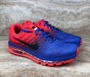 baaf22e4b6 Nike Air Max 2017 Paramount Blue Red Training Running Shoes Size 8.5 ...