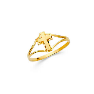 Kid 14k Yellow Real Gold Plain Religious Cross Children/'s Baby Ring Band Size 3