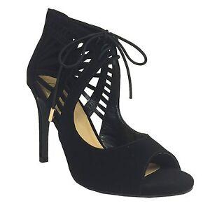 CATWALK-Women-039-s-Peep-Toe-Cutout-Lace-Up-High-Heel-Ankle-Strap-Pumps