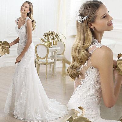 White Organza Mermaid Dress Wedding Bride Trailing Dress Ball Gown V Neck C70