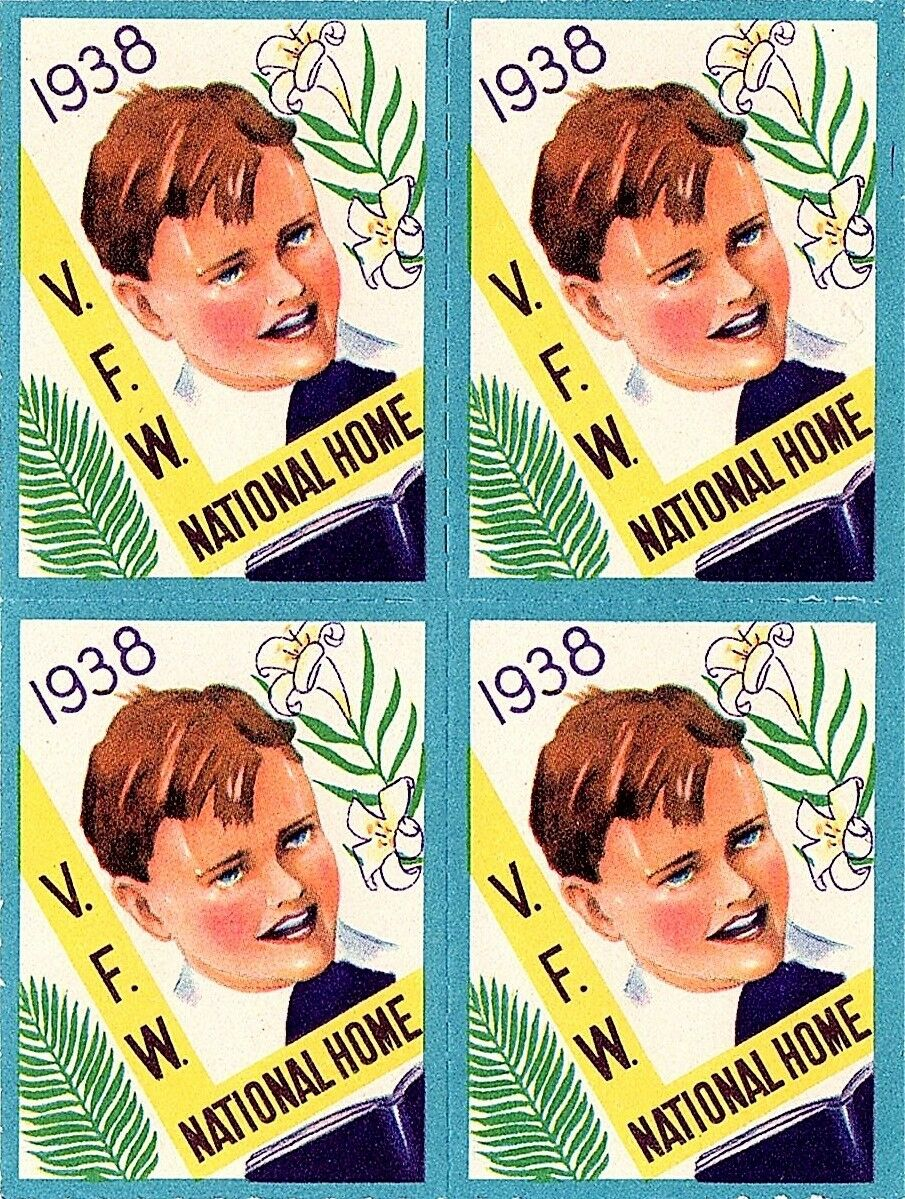 1938 V.F.W. National Home Easter Seals, Block of 4 Mint