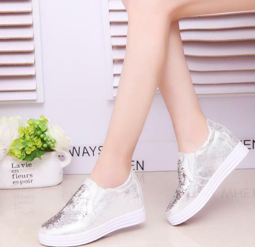 Womens Mesh Bling Glitter Breathable Sneaker SLip On Athletic Sports Shoes Vogue