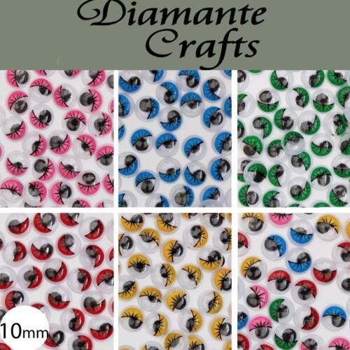 10 Mm Googly Ojos Con Pestañas Wiggle woobly Craft Ojos elige El Color Cantidad