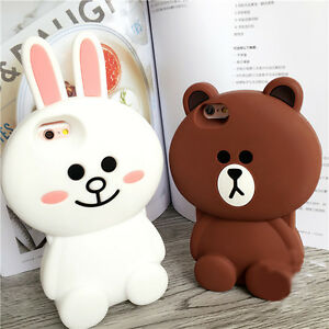 huge selection of 0987f 78024 Details about For iPhone Samsung 3D Soft Silicone Line Cute Bear Brown  Bunny Cony Phone Case