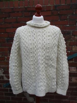 Collezione Qui L/xl-vintage Da Donna Bianco Aran Knit Bobble Maglione Pullover Oversize-d111-mostra Il Titolo Originale Dolorante