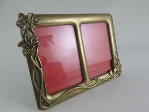 VTG-Art-Nouveau-Solid-Brass-Easel-Double-3-5-034-X-2-5-034-Picture-Photo-Frame-Italy