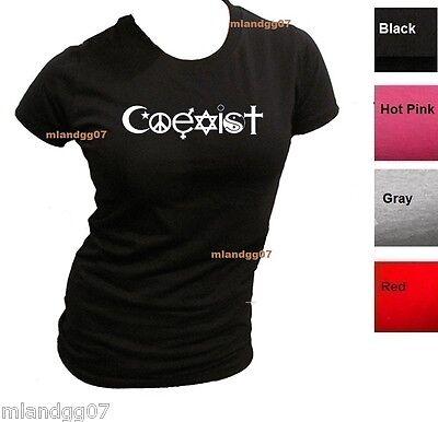 Junior Sizes Slim Fit  T-Shirt Coexist  Symbol  Religious Freedom