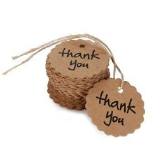 100pcs Thank You Wedding Party Tag Brown Kraft Paper With Elastic String