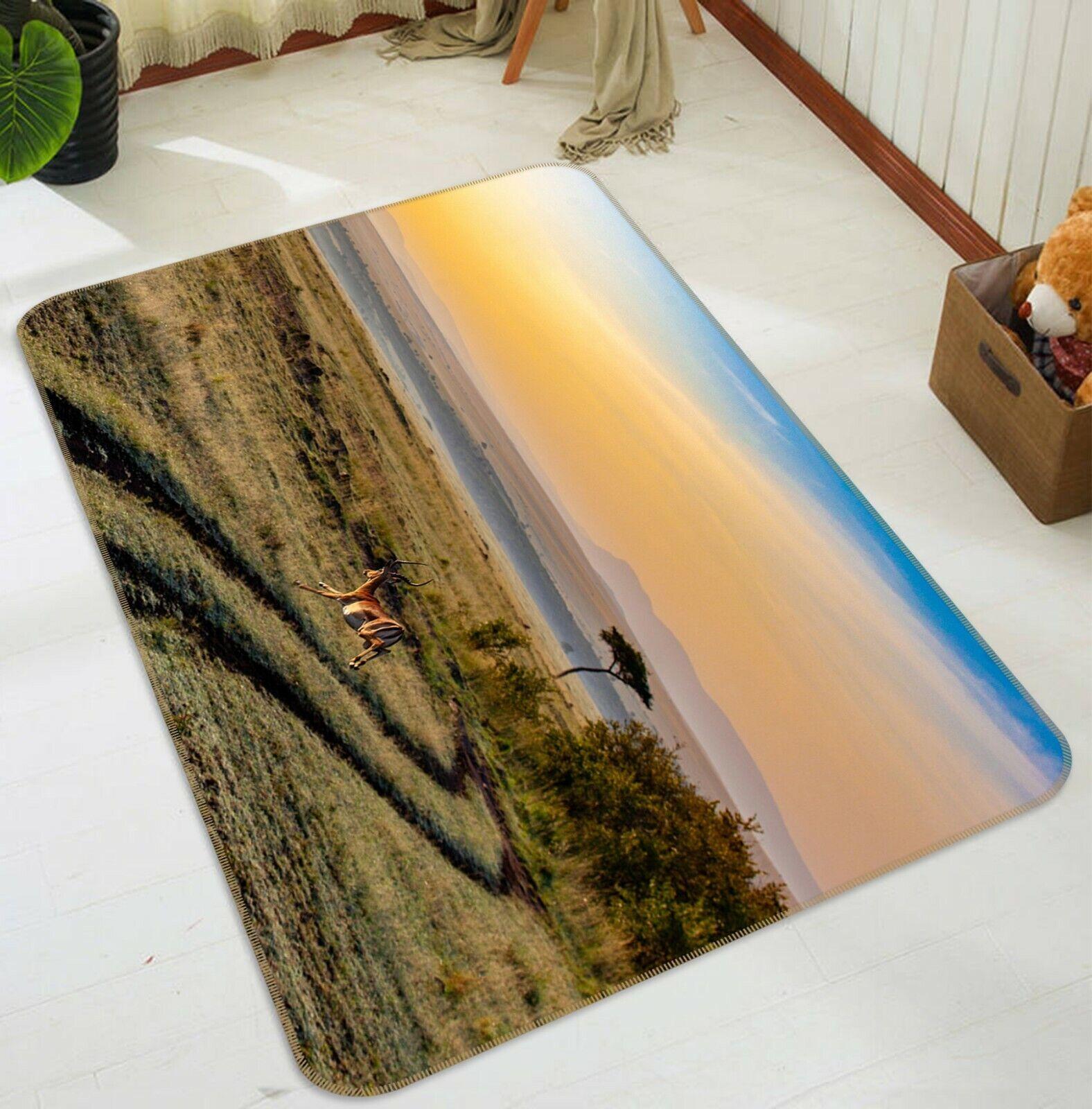 3D Cervo DELLA PRATERIA C039 Animale tappetino antiscivolo tappeto rossoondo elegante Tappeto Wendy
