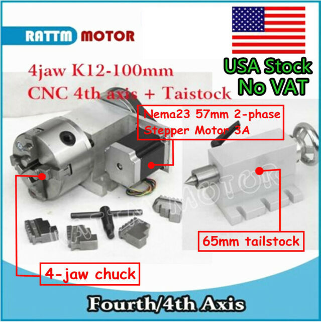 In USA CNC K12 100mm Rotary Axis 4th Axis 4 Jaw Chuck Ratio 6 1 65mm Tailstock