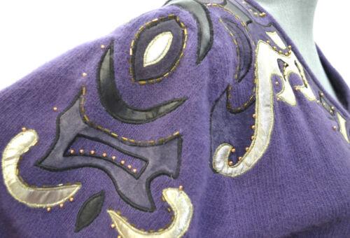 Pullover Maglione Davies Evan Impreziosito Vtg M oro Nuovo Oversize Perline Angora 0awfqwx