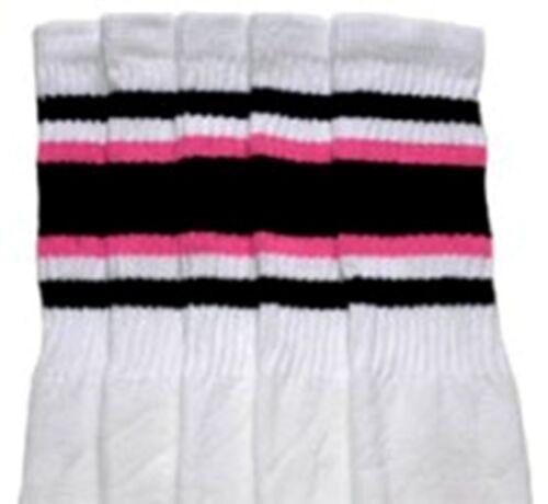 "25"" KNEE HIGH WHITE tube socks with BLACK//BUBBLEGUM PINK stripes style 4 25-37"