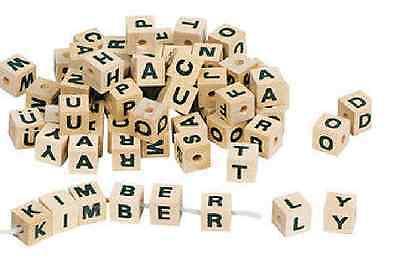 Buchstabenwürfel ca. 300 St. Holz zum Fädeln von goki Namensketten fädeln natur