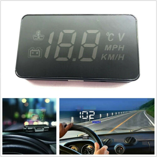 """3.5/"""" Car HUD Head Up Display OBD2 II Consumption Speed System Project Windshield"""