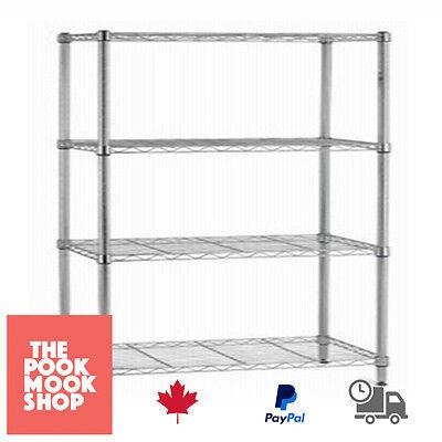 Storage Unit Organizer 4-Shelf TIER Rack Chrome Steel, Shelving, Garage, Shelves