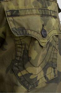 True Religion Jeans Men S Ricky Straight Army Green Camo Pants Mqu859dg4 Ebay