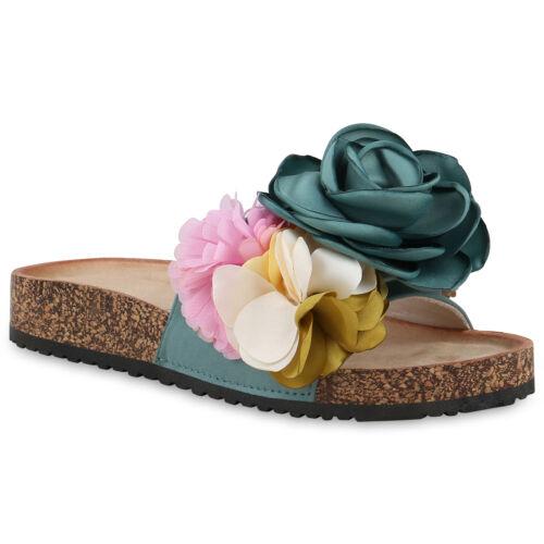 Damen Sandalen Pantoletten Blumen Sommer Schlappen Strass 826600 Schuhe