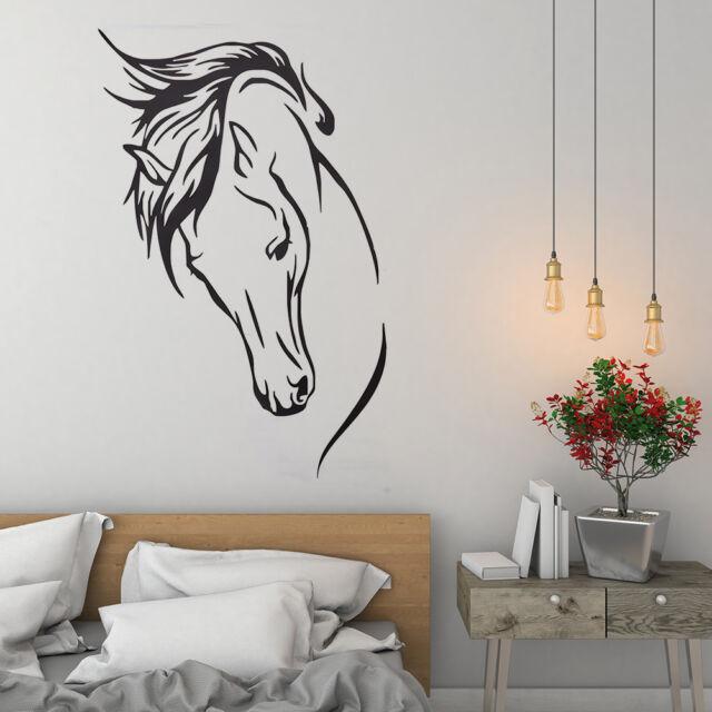 Vinyl RemovableWall Decal Head Of Horse Sticker Murals Living Room Decor N SL