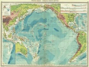 PACIFIC OCEAN Cables Depths Maps Of Fiji Islands New Hebrides - Ocean maps with depths