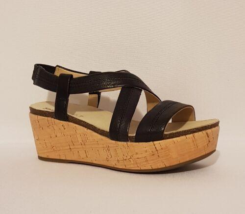 Sandalias de Verano Zapatos genuino Mujer Negro £ cuero Geox Respira Rrp 88 cuña con 8wqTXBg