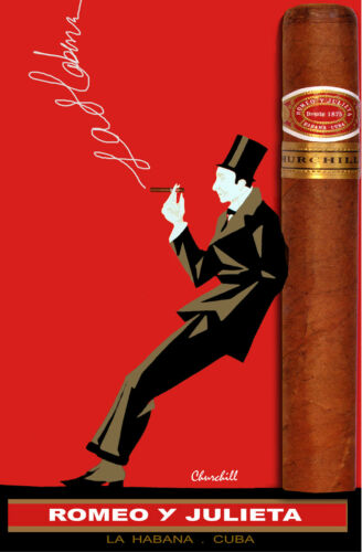 CUBAN Cigar Poster.Romeo y Julieta.Bar Art DECOR.Fine Tabaco.Smoker/'s Room.47i