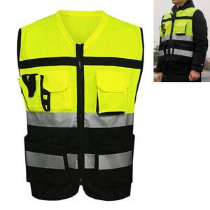 US-Hi-Vis-Safety-Vest-With-Zipper-Reflective-Jacket-Security-Waistcoat-W-Pocket