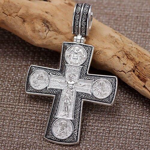 Orthodox Kreuz Anhänger silver 925 Gottesmutter der Zärtlichkeit icon Kruzifix..