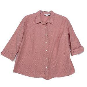 Sonoma-Woman-Stretch-Orange-Gingham-Blouse-Sz-2X-Button-Front-3-4-Sleeve-Stretch