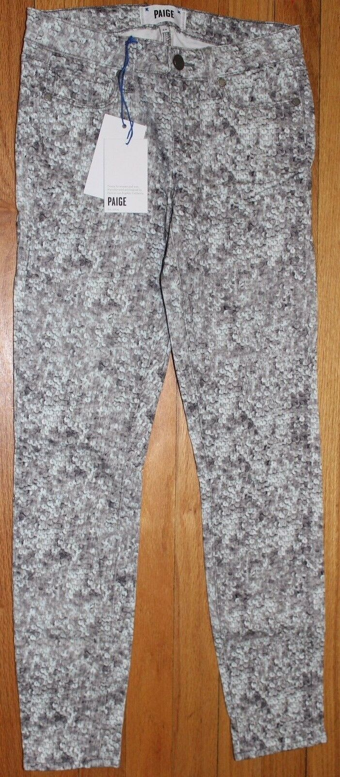 168 PAIGE PEWTER SEQUINS VERDUGO SKINNY  ANKLE JEANS SZ 24