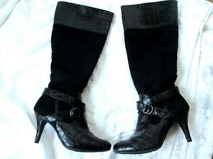 10abad6affc Details about NATURAL SOUL by NATURALIZER  LIDIA  7.5M Black Suede Croc Zip KNEE  BOOTS PRE 0WN