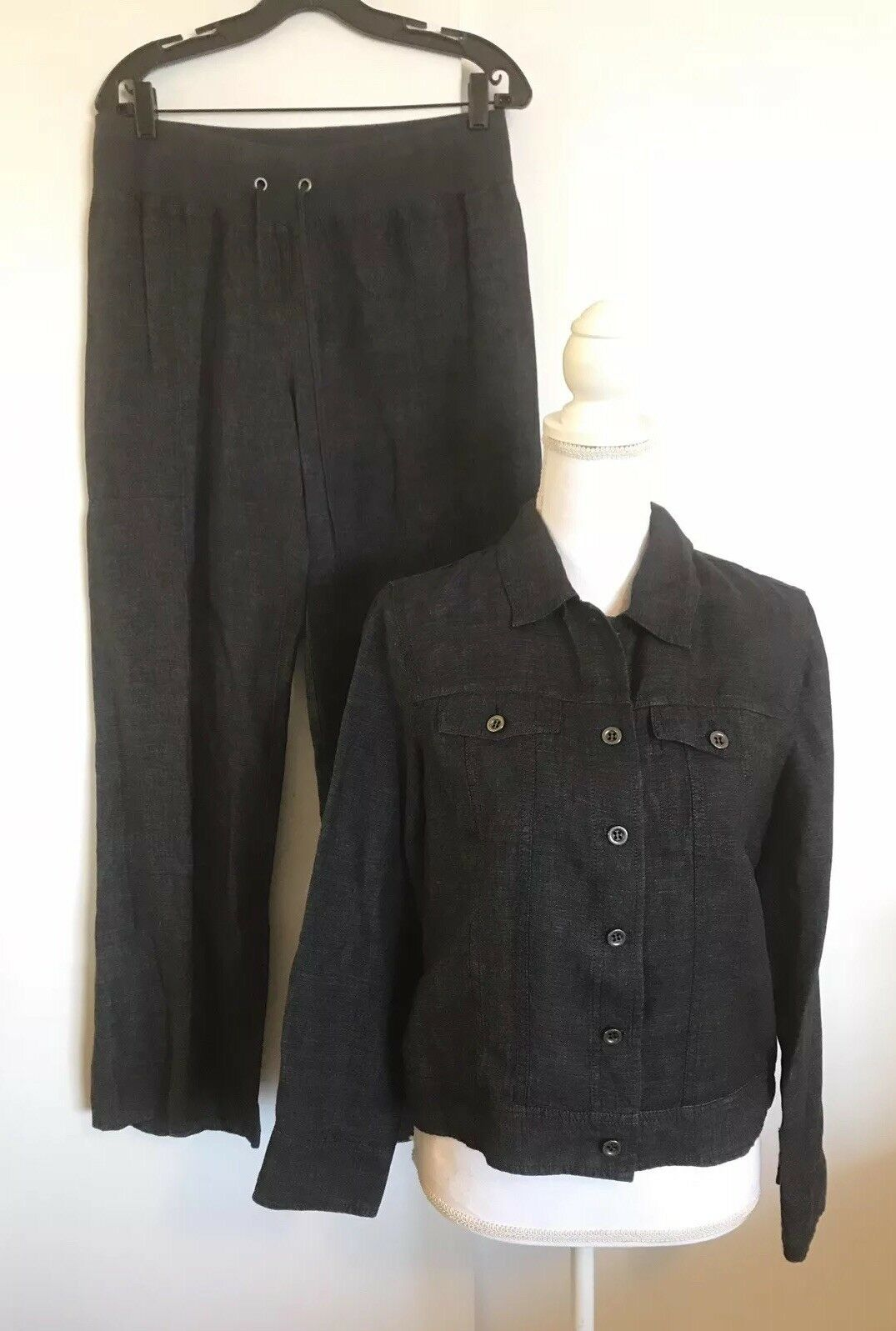 EILEEN FISHER 2pc 100% Organic Linen Pants Suit Capri and Jacket Small Blau