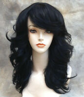 Human Hair Blend Wig Med Length Layered Open Curls Bangs In Off Black St 1b