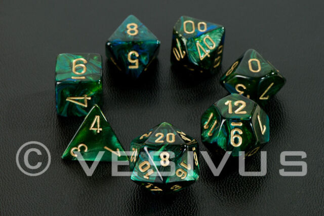 DICE Chessex Scarab JADE GREEN 7-Dice Set Marble Shiny d20 d10 RPG Oily 27415