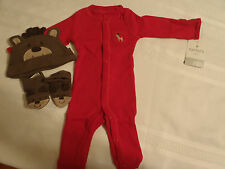Carters Baby Boys 3-Piece Newborn Christmas Reindeer Layette Outfit Hat Booties