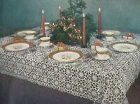Vintage Crochet Pattern Christmas Round Snowflake Design Motif Block Tablecloth