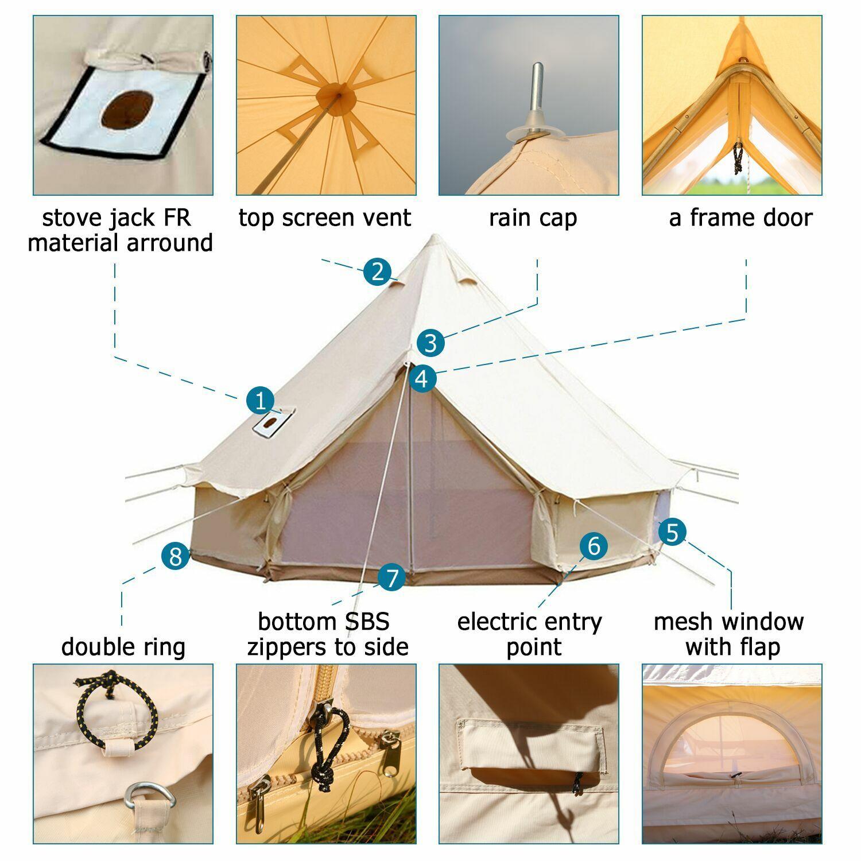Campana De Lona De Algodón 3M Cochepa Toldo Impermeable Glamping yurta Frontal Cochepa 2-3 personas