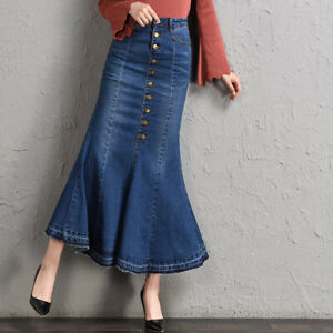 High-Waisted-Stretch-Denim-Maxi-Long-Skirts-Button-Front-Flare-Fishtail-Hem-Sexy