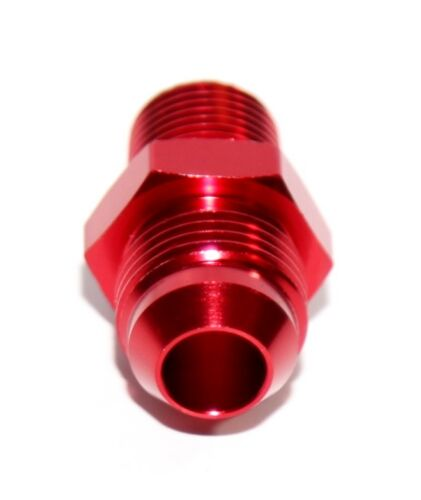 """RED 8AN AN-8 to 3//8/"""" NPT Male Thread Straight Aluminum Fitting Adapter"""