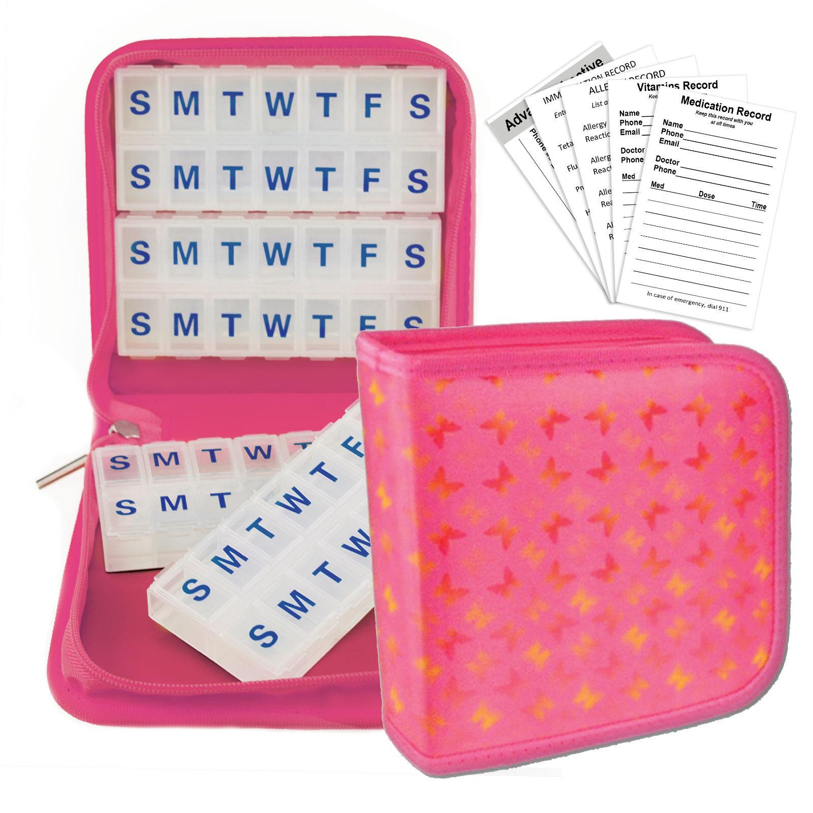 Pink Butterflies Pill Vitamins Organizer