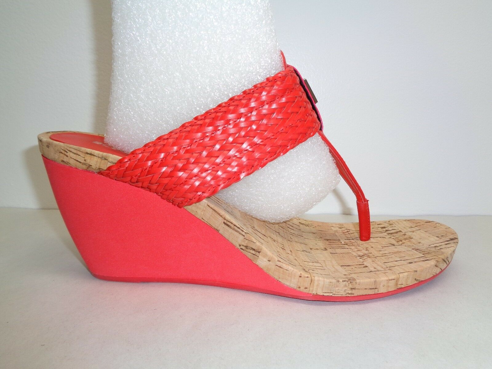 BCBG BCBGeneration Size 9.5 M MEL Red Wedge Heels Sandals New Womens shoes