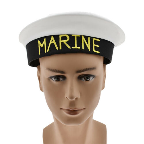 Cosplay Sailor Hat Fancy Dress Costume Boat Sea Unisex MARINE Embroidery White