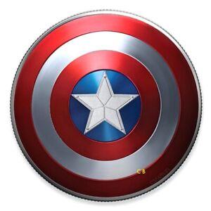 CAPTAIN-AMERICA-Shield-10-gr-Proof-Silver-Coin-MARVEL-FIJI-2019