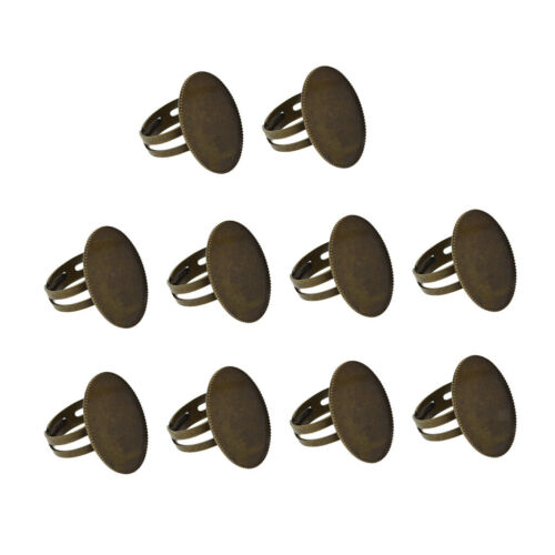 10 Stück verstellbare Ring Base Rohlinge Cabochons ovale Form Lünette