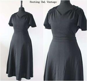 Vintage-1970s-Black-Dress-Elegant-Angel-Sleeve-Evening-Midi-Tea-Boho-Dress-10-12