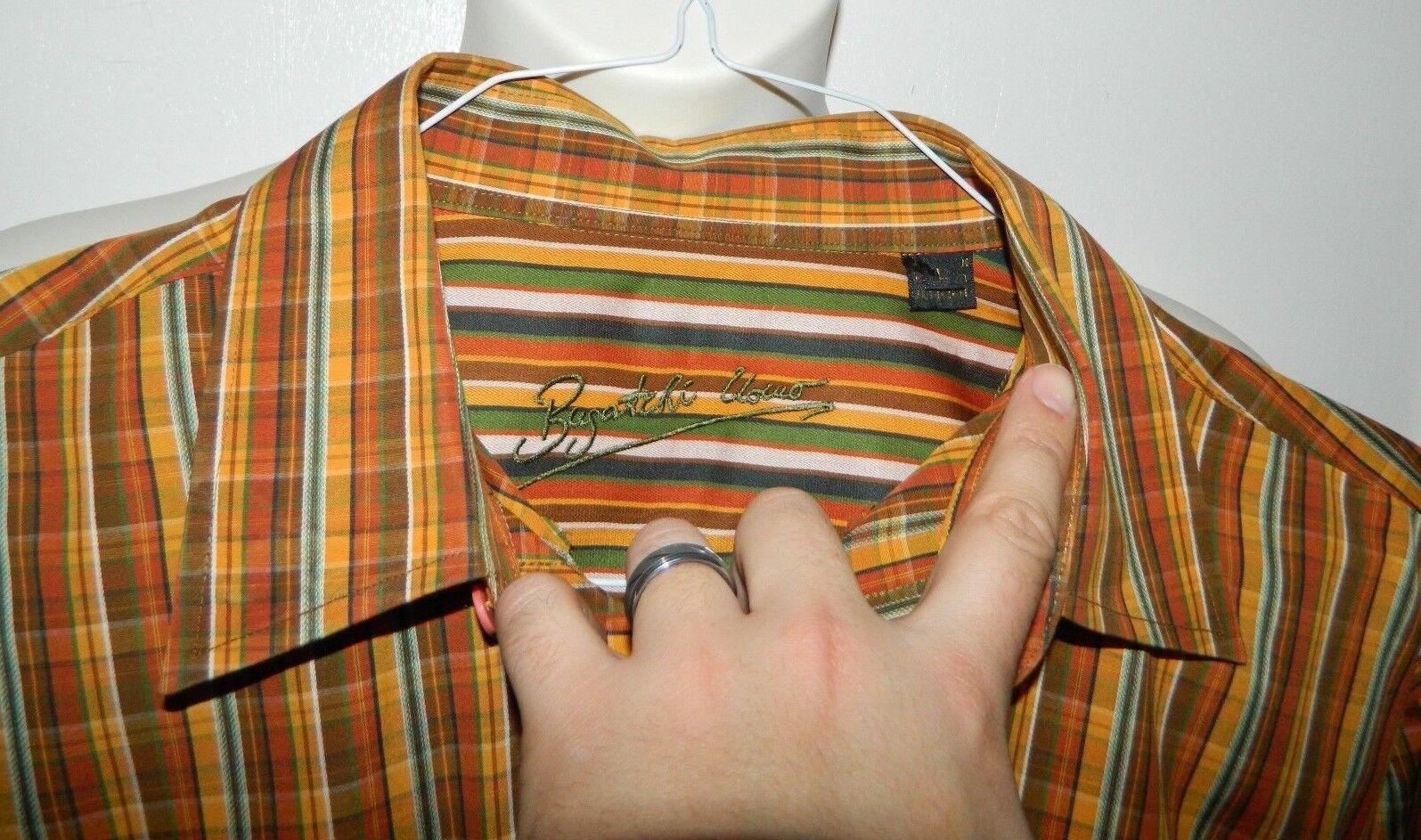 Bugatchi Uomo Long Sleeve marrone arancia Plaid Pattern Shirt Uomo's Uomo's Shirt Size Medium M 3a7fb9